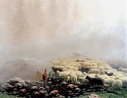 Sheep in the fog by Stanisław Witkiewicz